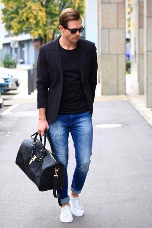Here are 9 best ways men can wear white sneakers for Shirts that go with black jeans