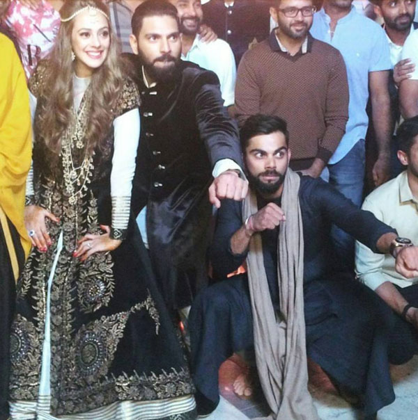 Yuvraj Singh-Hazel Keech The gathering was ecstatic and running high on energy . Virat Kohli and all other cricketers along with the couple got these epic shots clicked.