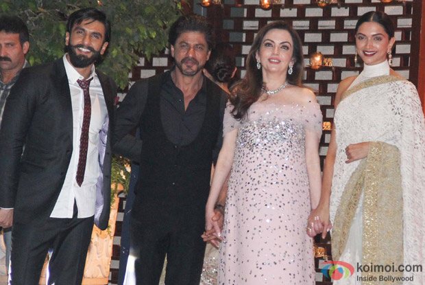 Nita Ambani doesnt miss a chance to make the guests feel welcomed. She posed for the cameras while holding hands with the biggies of Bollywood.