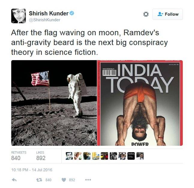 Baba Ramdev's photo on India Today turned into a Meme.