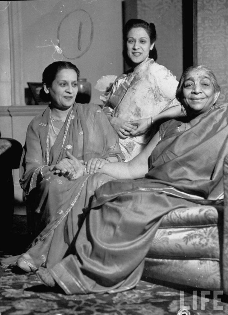Sarojini Naidu (R), Congress Party Leader with her House Guests the Maharani of Nabha & her Daughter Kabuala Devi - May 1946