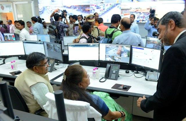 Rajasthan CM Vasundhara Raje inaugurated India's first high-tech police control room based on video surveillance, GPS tracking, social media monitoring and traffic management.