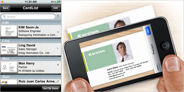 As its name suggests, the app lets you store information of your business contacts.
