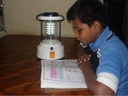 . Transparent, cheap and efficient mode of distributing electricity, these solar lamps provide portable light for study.