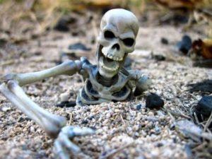 Skeletons peeking from the skeleton lake.
