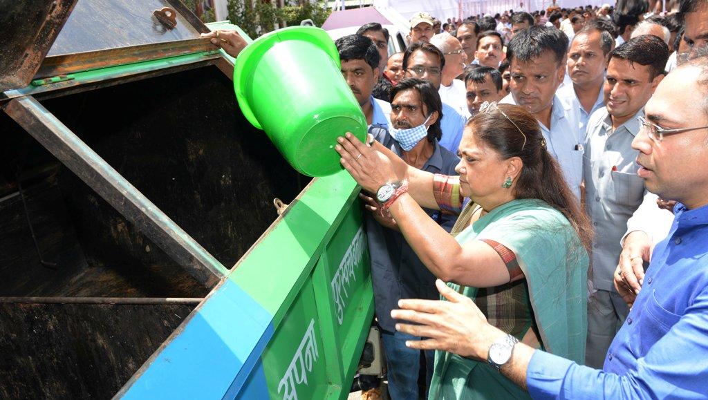 Raje Launches Scheme Segregating Garbage At Source In Jaipur
