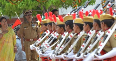 The Crowd Cheers new female constables of Rajasthan police at the felicitation ceremony.
