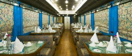 The settings inside Royal Rajasthan on Wheels.