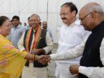 Rajasthan CM Vasundhara Raje, Union Minister Venkaiah Naidu meet NDA president nominee Ram Nath Kovind.