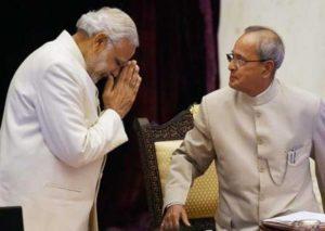 PM Modi bows before President Mukherjee.