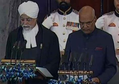 Ramnath Kovind takes the Presidential Oath in New Delhi.