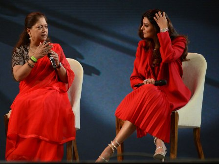 CM Raje and the beautiful Sushmita Sen at Jaipur Festival of Education.