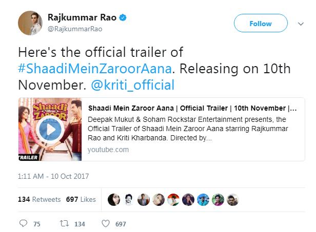 Rajkumar Rao Trailer of Shaadi Mein Zarro Aana