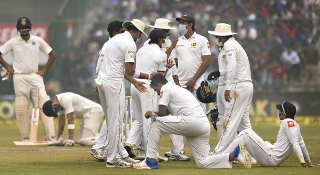 India Sri Lanka Test Match Stopped due to Delhi Polluttion
