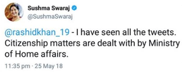 Sushma Swaraj on Rashid Khan