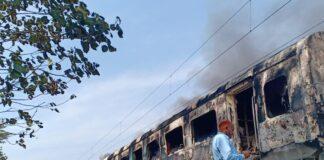 Delhi-Dehradun Express fire, compartment on fire